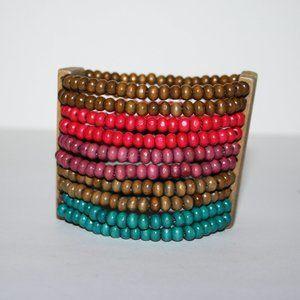 "Beautiful colorful wooden bracelet 7"""